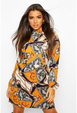 Dam Mustard High Neck Ruffle Chain Print Mini Dress
