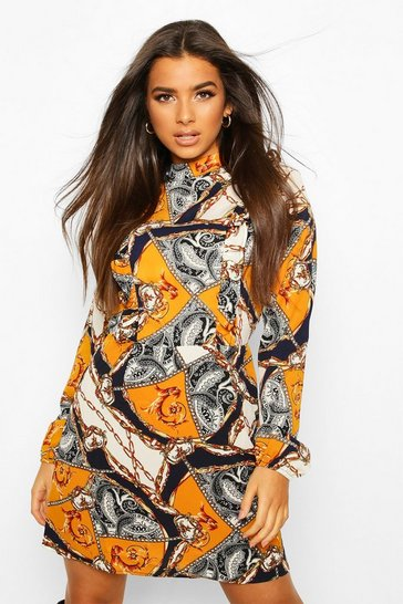 Womens Mustard High Neck Ruffle Chain Print Mini Dress