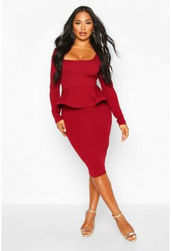 Berry Long Sleeve Peplum Midi Bodycon
