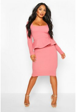 Dusty rose Long Sleeve Peplum Midi Bodycon