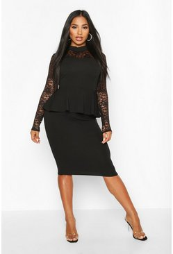 Womens Black Lace Top High Neck Peplum Midi Dress