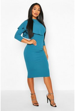 Teal High Neck Pleated Ruffle Midi Dress