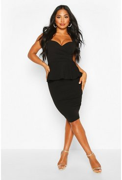 Sweetheart Wrap Peplum Midi Dress, Black