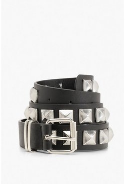 Chunky Pyramid Stud Buckle Belt, Black