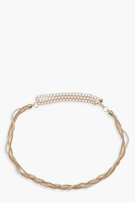 Twisted Pearl & Chain Belt