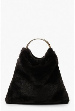 Faux Fur Ring Handle Grab Bag, Black, MUJER