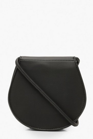 Womens Black PU Rounded Cross Body Bag