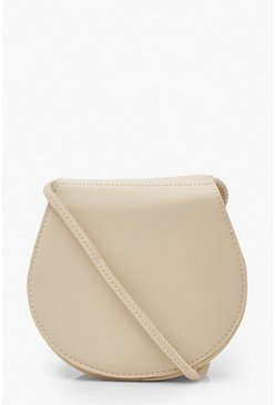 Cream PU Rounded Cross Body Bag
