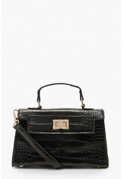 Black Croc Mini Lock Cross Body Bag
