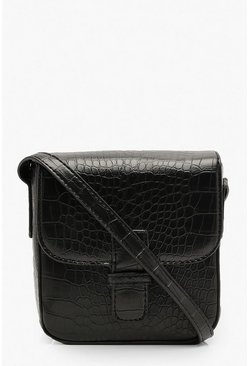 Womens Black Croc Front Tab Cross Body Bag