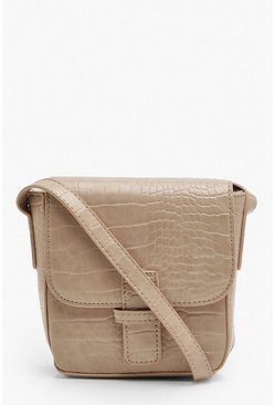 Croc Front Tab Cross Body Bag, Nude