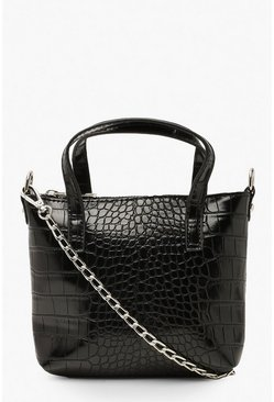 Womens Black Croc Mini Cross Body & Handle Bag