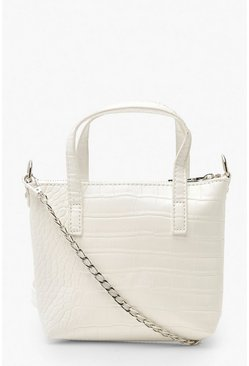 White Croc Mini Cross Body & Handle Bag