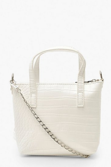 Womens White Croc Mini Cross Body & Handle Bag