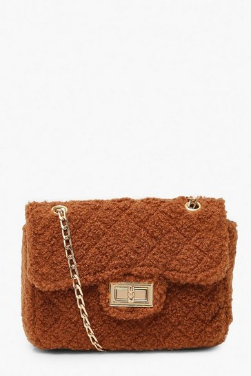 Womens Chocolate Teddy Faux Fur Mini Cross Body & Chain Bag