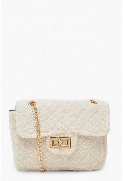 Cream Teddy Faux Fur Mini Cross Body & Chain Bag