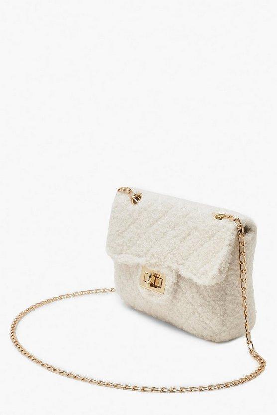 Teddy Faux Fur Mini Cross Body & Chain Bag