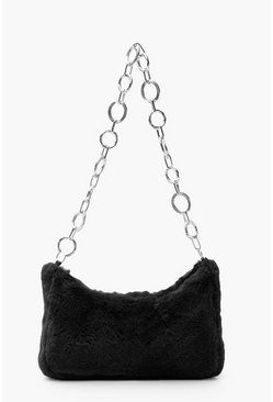 Black Faux Fur Under Arm Chain Link Bag