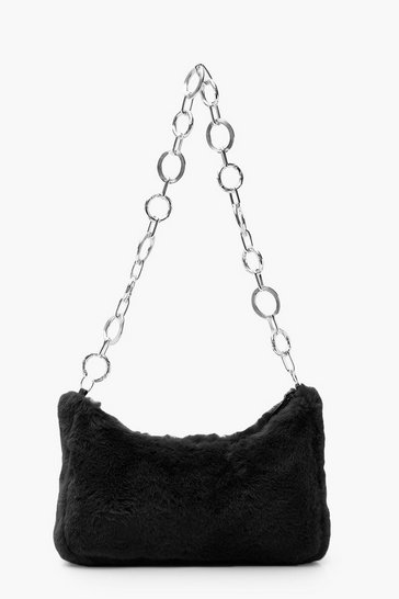 Womens Black Faux Fur Under Arm Chain Link Bag
