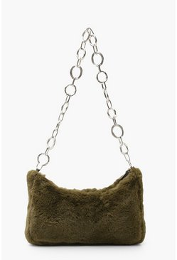 Faux Fur Under Arm Chain Link Bag, Green, MUJER