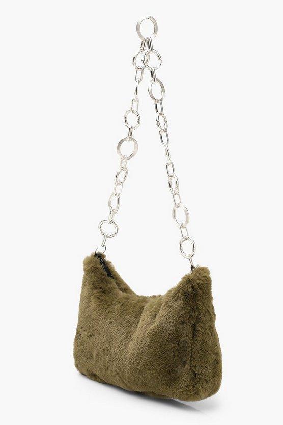 Faux Fur Under Arm Chain Link Bag
