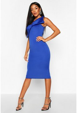 One Shoulder Bow Front Midi Dress, Cobalt, MUJER