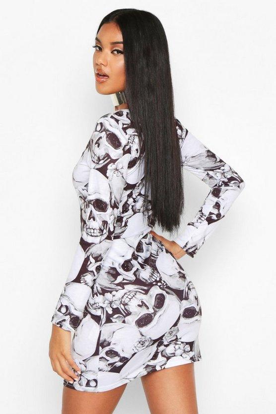 Skeleton Square Neck Bodycon Dress
