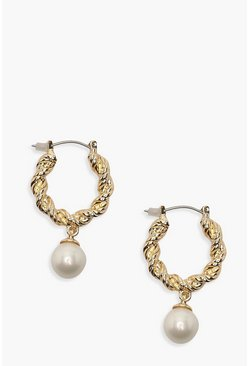 Textured Hoop & Pearl, Gold