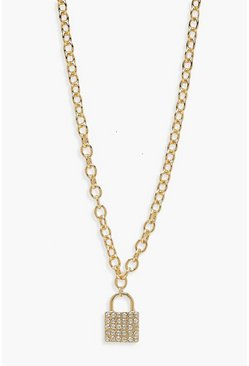 Diamante Padlock Necklace, Gold