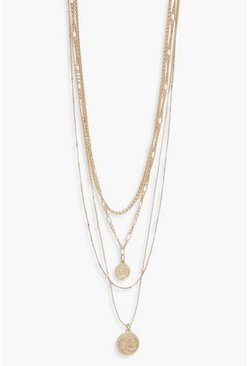 Gold Multi Layer Chain Necklace With Coin Detail