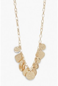 Gold Multi Coin Detail Chunky Statement Necklace