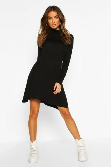 Womens Black Roll Neck Swing Dress