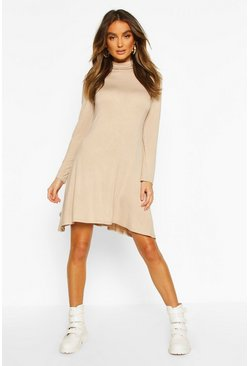 Womens Stone Roll Neck Swing Dress