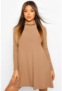 Womens Camel Rib Roll Neck Swing Dress