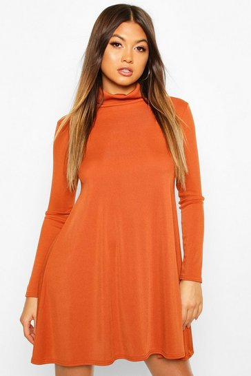 Womens Rust Rib Roll Neck Swing Dress