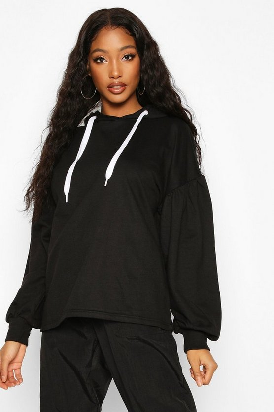 Black Oversized Puff Sleeve Hooded Sweat Top