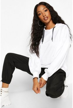 Womens White Oversized Puff Sleeve Hooded Sweat Top
