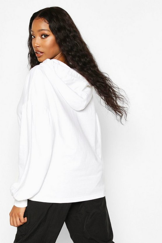 Oversized Puff Sleeve Hooded Sweat Top