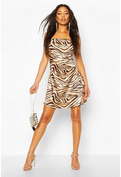 Copper Tiger Print Satin Slip Dress