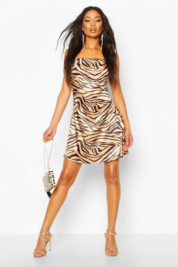 Womens Copper Tiger Print Satin Slip Dress
