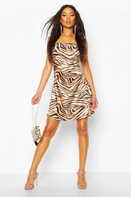 Tiger Print Satin Slip Dress