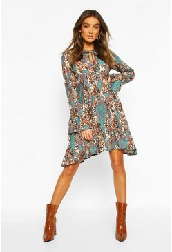Womens Teal Paisley Animal Mix Print Smock Dress