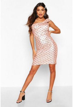 Metallic Polka Dot Bow Midi Dress, Blush, MUJER
