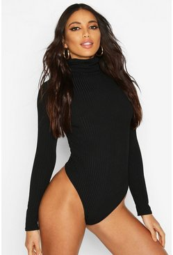 Black Jumbo Rib High Neck Long Sleeve Body