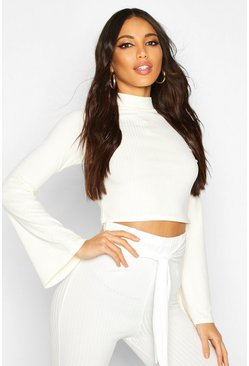 Cream Jumbo Rib High Neck Flare Sleeve Crop