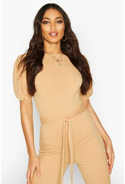 Camel Jumbo Rib Puff Shoulder Top