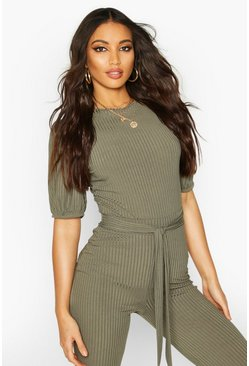 Khaki Jumbo Rib Puff Shoulder Top