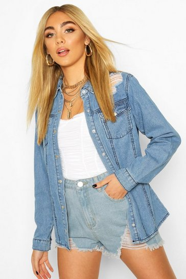 Mid blue Western Distressed Denim Shirt