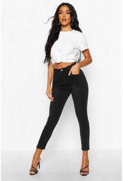 Womens Black High Rise Pocket Detail Skinny Jean