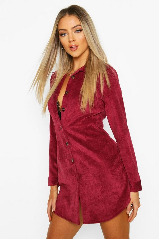 Berry Cord Fitted Shirt Dress